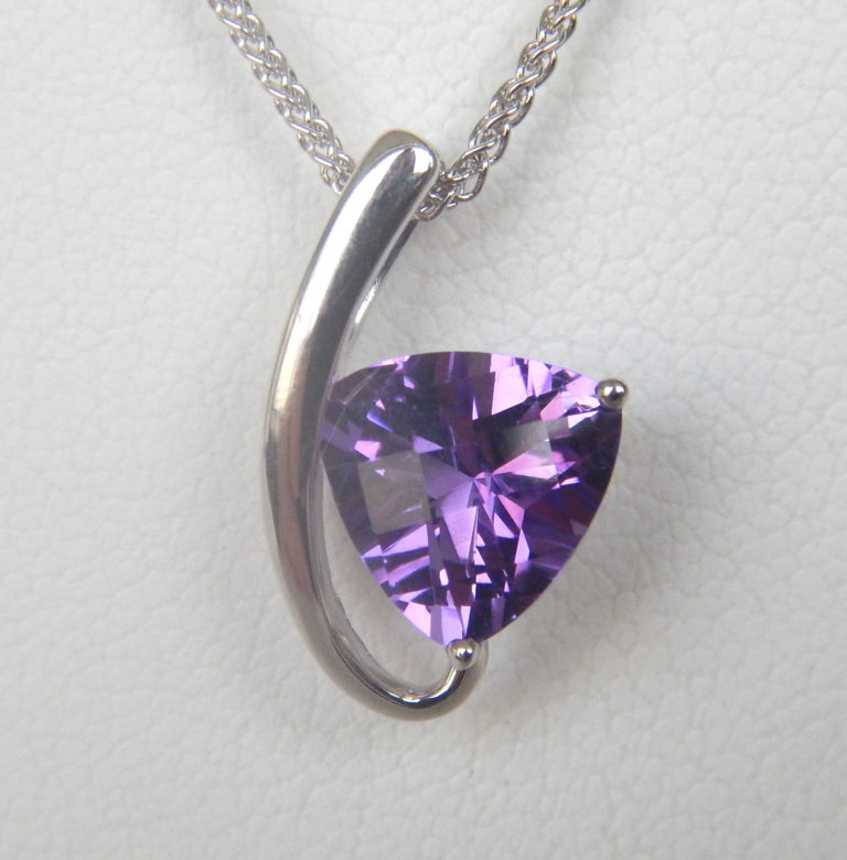 white gold contemporary amethyst pendant