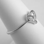 side view of sterling silver diamond heart ring