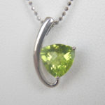 white gold contemporary peridot pendant