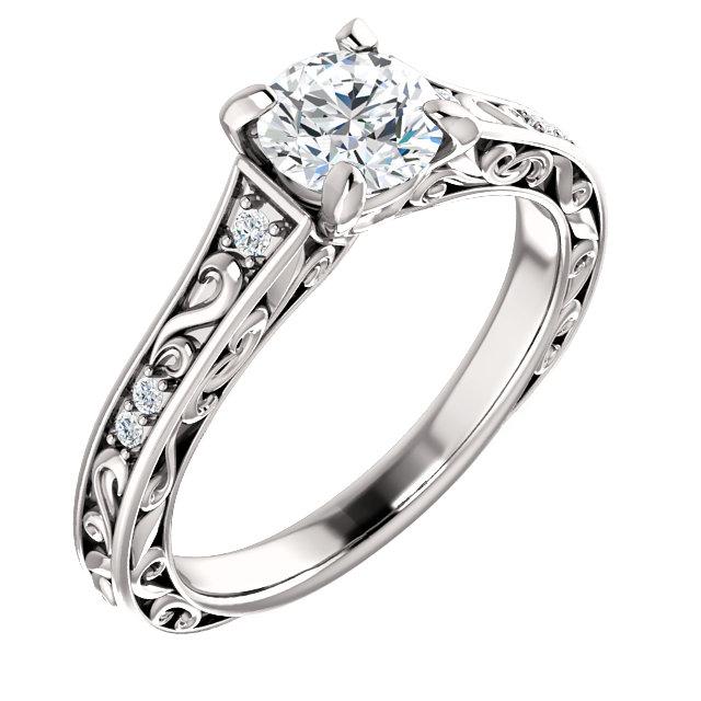 intricately designed diamond engagement ring
