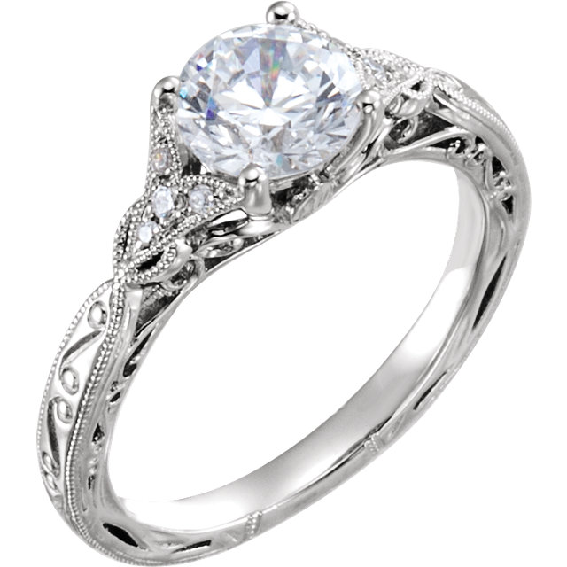 hand engraved white gold diamond engagement ring
