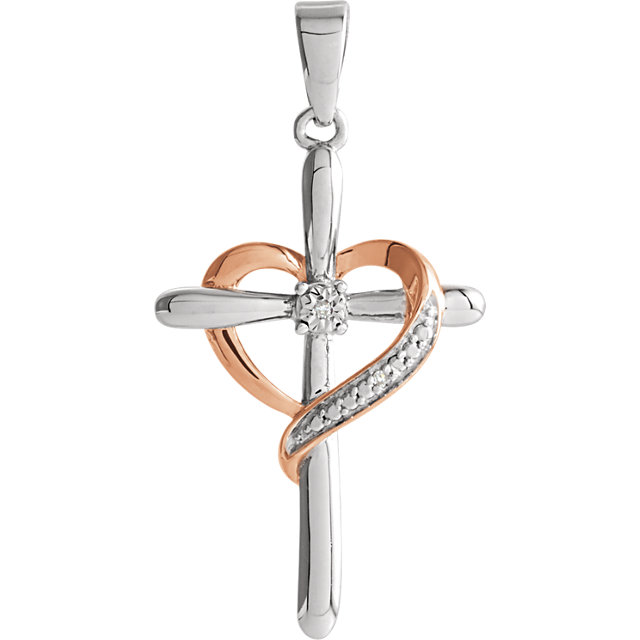 sterling silver heart cross pendant