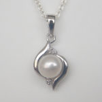 sterling silver freshwater pearl and diamond pendant