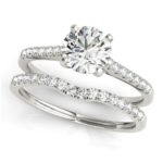 diamond accented engagement ring with matching wedding band