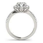 side view of floral inspired diamond engagement ring