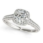 channel set diamond halo engagement ring