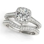 channel set diamond halo engagement ring with matching wedding band