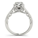 side view of vintage style diamond engagement ring