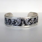 sterling silver cuff bracelet with black new orleans style design