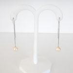 white gold freshwater pearl dangle earrings