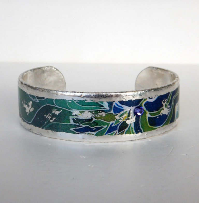 sterling silver cuff bracelet with blue and green design