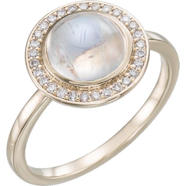14 karat rose gold moonstone and diamond ring