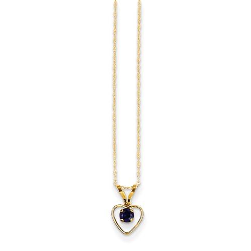 14 karat yellow gold sapphire heart necklace