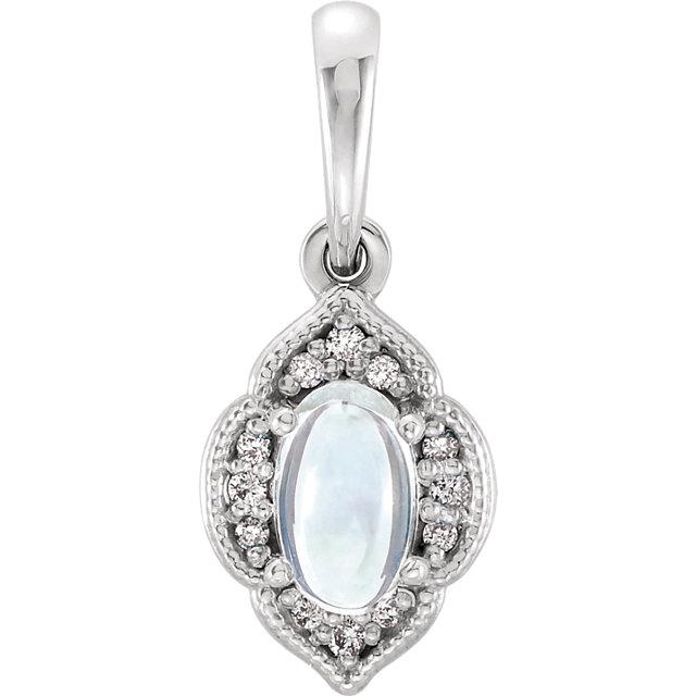 white gold moonstone and diamond pendant