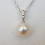akoya pearl and diamond pendant in white gold setting