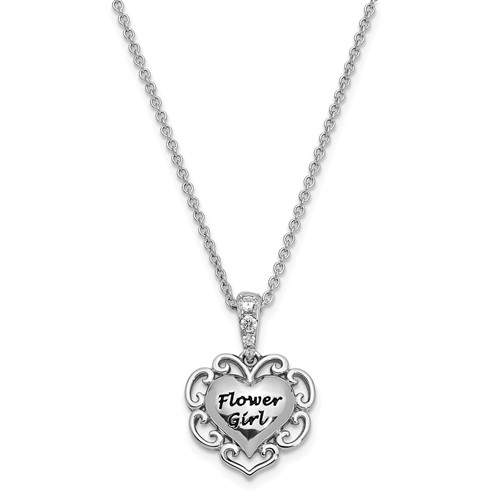 sterling silver flower girl necklace