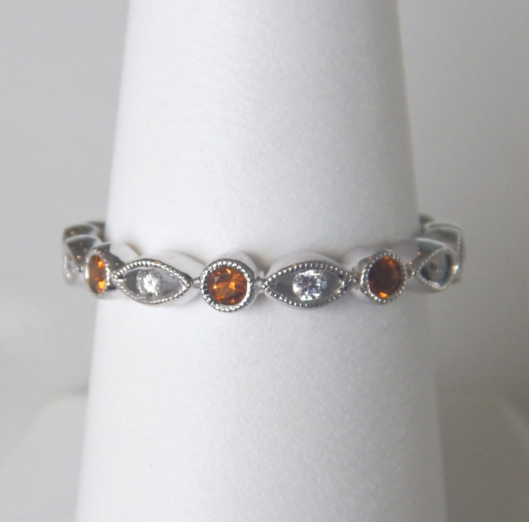 citrine and diamond stacking ring white gold