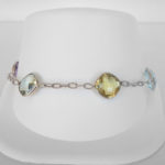 multi gemstone white gold bracelet
