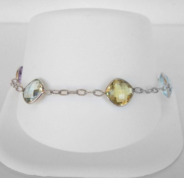 multi gemstone white gold bracelet