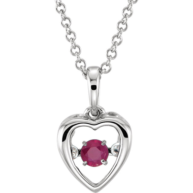 ruby heart pendant white gold
