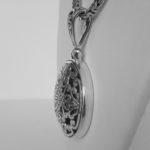 side view of sterling silver bali pendant