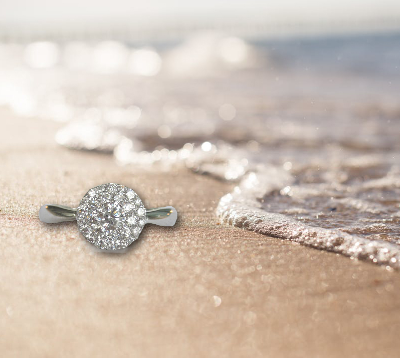 diamond ring at the beach