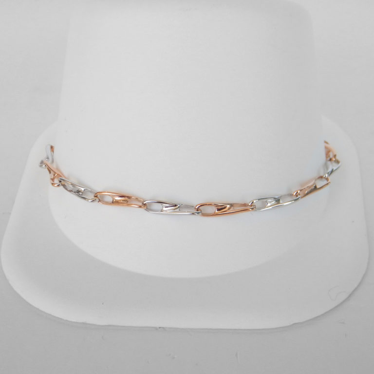 white gold and rose gold infinity link bracelet