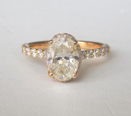 custom designed diamond engagement ring yellow gold