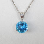 close up view of blue topaz pendant