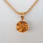 close up view of citrine pendant