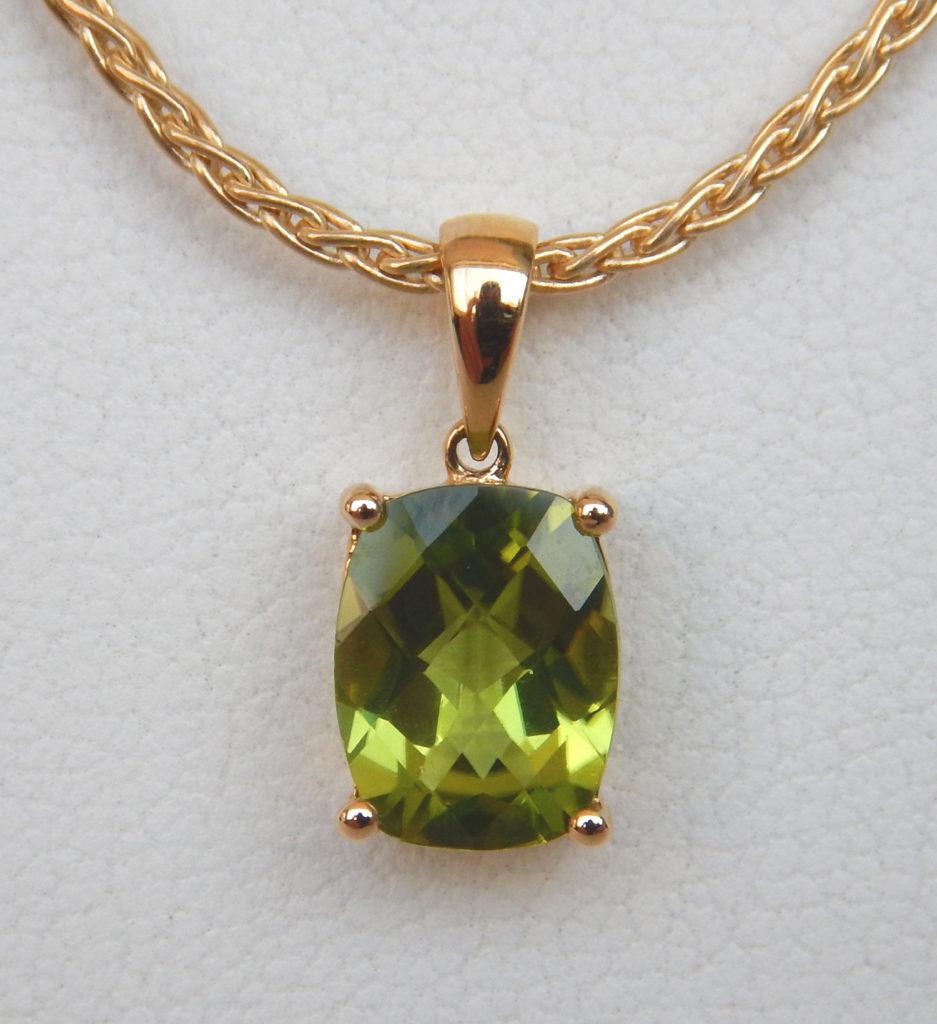 Peridot pendant kloiber jewelers rectangular peridot pendant in yellow gold aloadofball Gallery