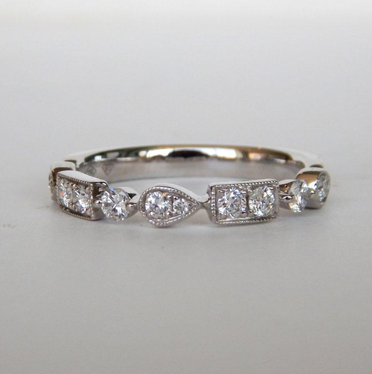 mixed motif diamond band white gold