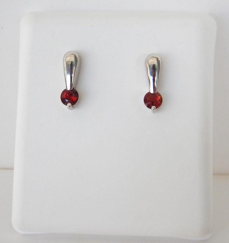 garnet earrings white gold