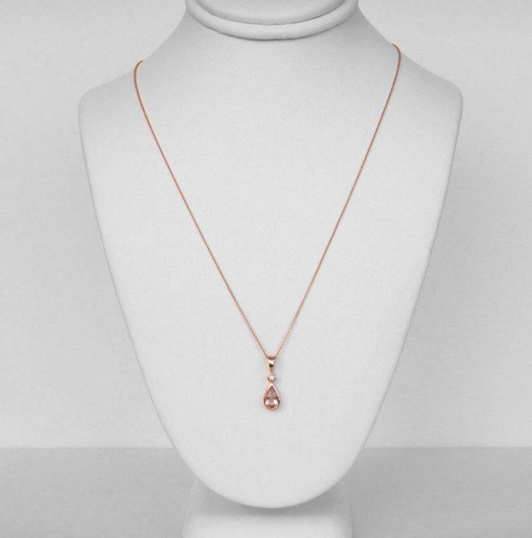 rose gold morganite and diamond pendant on chain