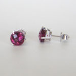 rhodolite garnet studs in white gold setting