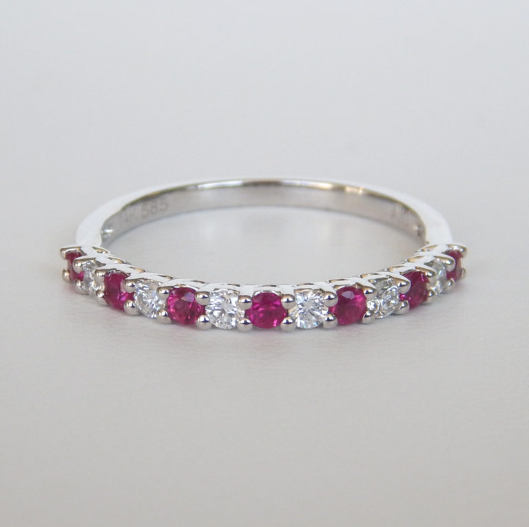 ruby and diamond band white gold
