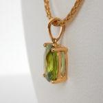 side view of peridot pendant