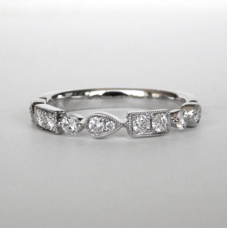 white gold art deco diamond band