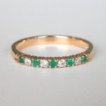 yellow gold emerald and diamond band
