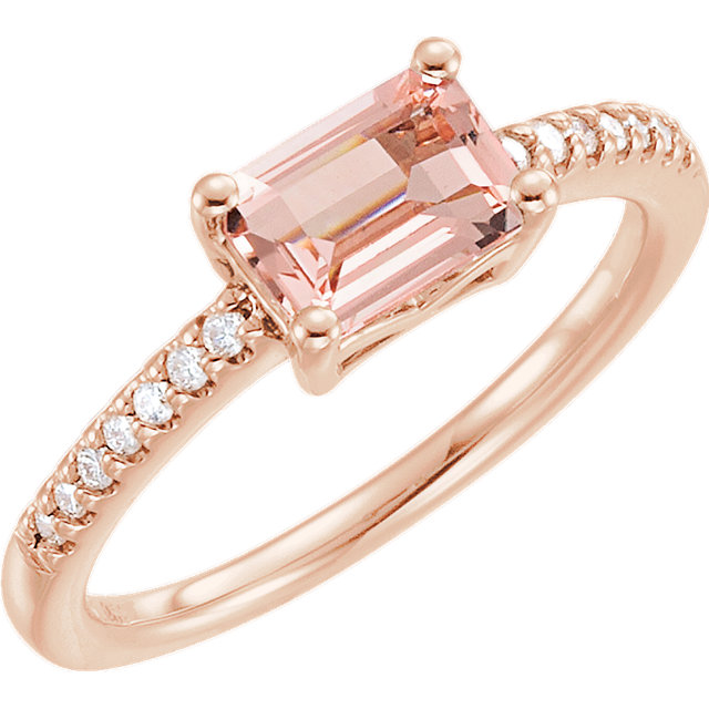 morganite and diamond accented rose gold ring