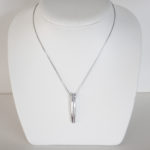 sterling silver white sapphire vertical bar necklace