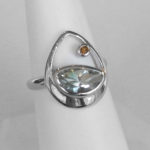 sterling silver green amethyst and citrine contemporary ring