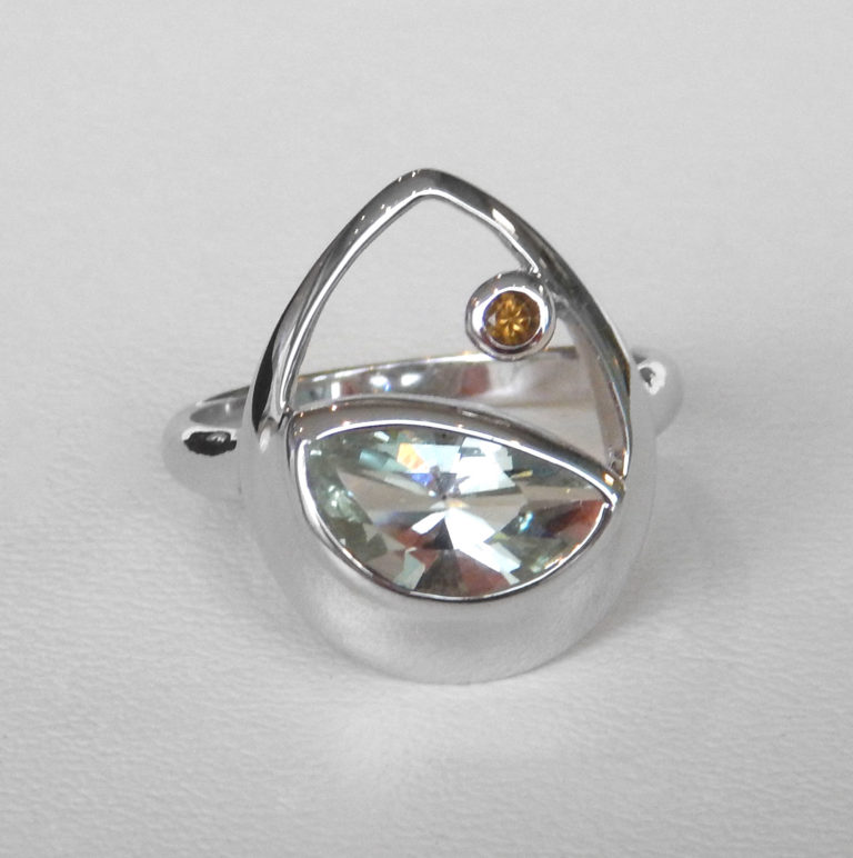 sterling silver green amethyst and citrine ring