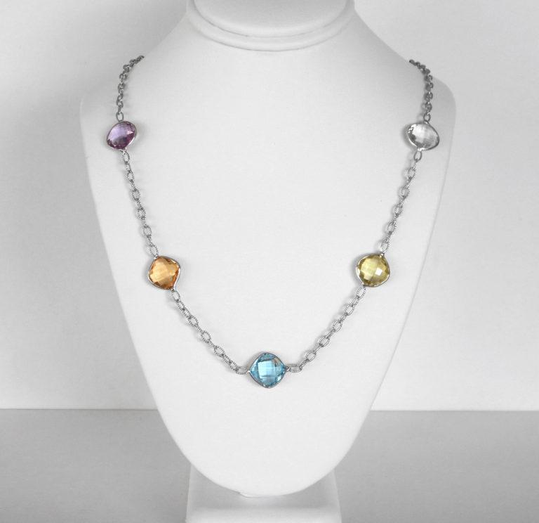 multi gemstone sterling silver necklace