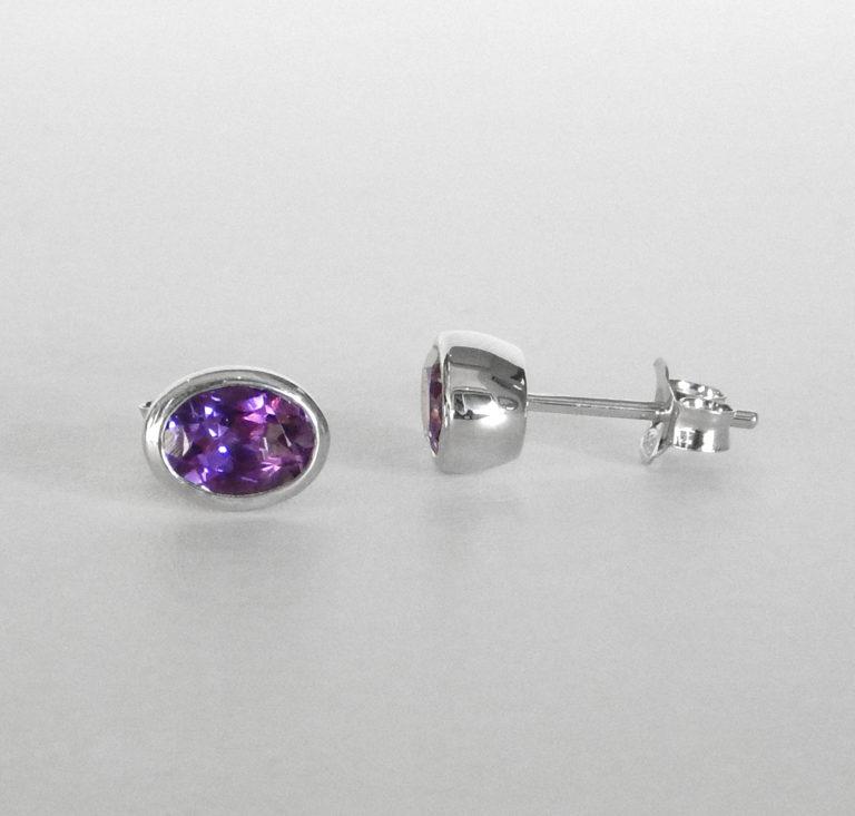 sterling silver oval amethyst stud earrings