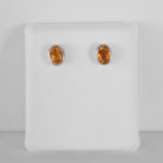 sterling silver oval bezel set citrine stud earrings