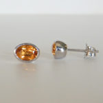 sterling silver oval citrine studs
