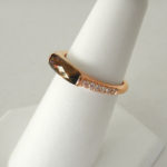 side view of rose gold smoky quartz and diamond stacking ring