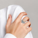 sterling silver green quartz and citrine contemporary ring on finger