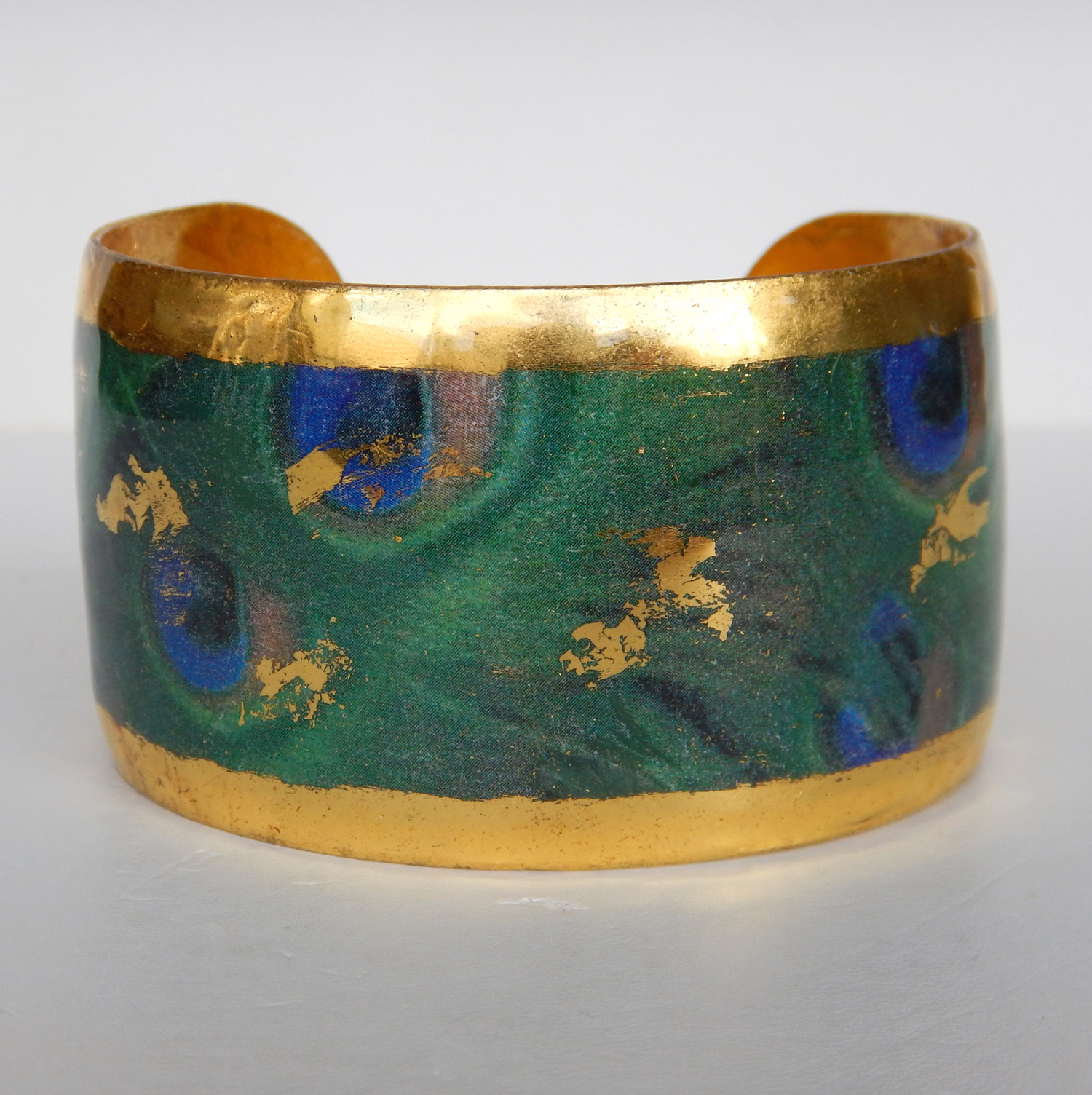 yellow gold green and blue pattern cuff bracelet